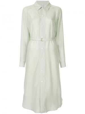 Платье-рубашка с поясом 08Sircus. Цвет: зелёный