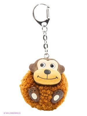 Сув. Пушистая обезьянка помпон, дерев.брелок, 3см Пуффи. Цвет: коричневый