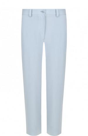 Укороченные шелковые брюки прямого кроя Theory. Цвет: голубой