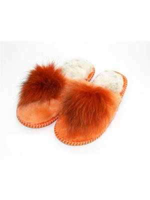 Туфли комнатные - тапочки Тефия. Цвет: оранжевый, белый
