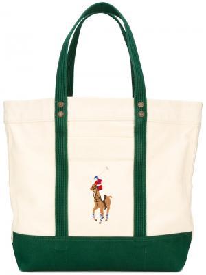 Сумка на плечо с вышитым логотипом Polo Ralph Lauren. Цвет: телесный