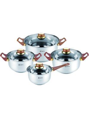 Набор посуды из нержавеющей стали 1,8л/2,7л/3,6л/6,1л. RAINSTAHL. Цвет: серебристый, коричневый