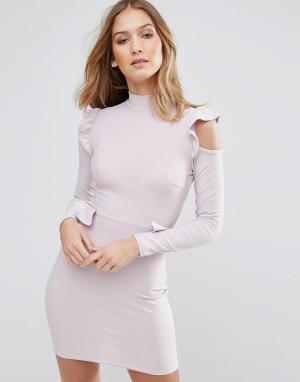 Lasula Платье с оборками. Цвет: фиолетовый