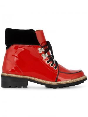 Ботинки на плоской подошве Ganni. Цвет: красный