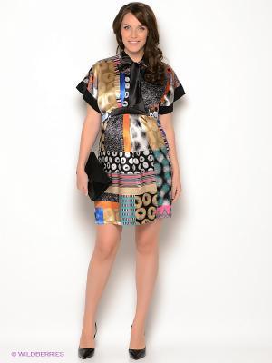 Платье UNIOSTAR. Цвет: бежевый, черный, синий, рыжий