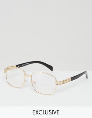 Reclaimed Vintage Золотистые квадратные очки с прозрачными стеклами In. Цвет: золотой