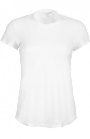 Хлопковая футболка с круглым вырезом James Perse. Цвет: белый