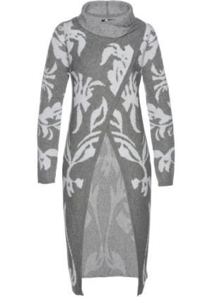 Вязаное пальто (дымчато-серый/белый) bonprix. Цвет: дымчато-серый/белый