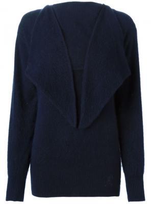 Трикотажный свитер с откидным воротником Roberta  Di Camerino Vintage. Цвет: синий