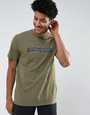 Patagonia Зеленая меланжевая футболка классического кроя с принтом. Цвет: зеленый