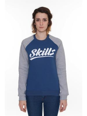 Свитшот SKILLS College женская. Цвет: темно-синий, синий, серый меланж