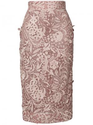 Гипюровая юбка-карандаш J. Mendel. Цвет: розовый и фиолетовый