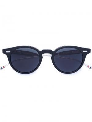 Складные солнцезащитные очки в круглой оправе Thom Browne Eyewear. Цвет: серый