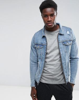 Just Junkies Состаренная джинсовая куртка с молнией. Цвет: синий