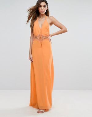 Jarlo Платье макси с кружевной вставкой. Цвет: оранжевый