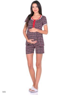 Комплект домашней одежды ( блузка, шорты) 40 недель. Цвет: темно-синий, красный