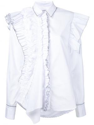 Рубашка с асимметричной отделкой из рюшей Preen By Thornton Bregazzi. Цвет: белый