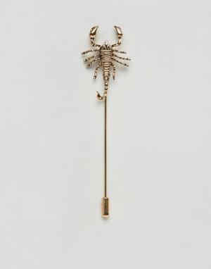 ASOS Золотистая булавка на лацкан в виде скорпиона. Цвет: золотой