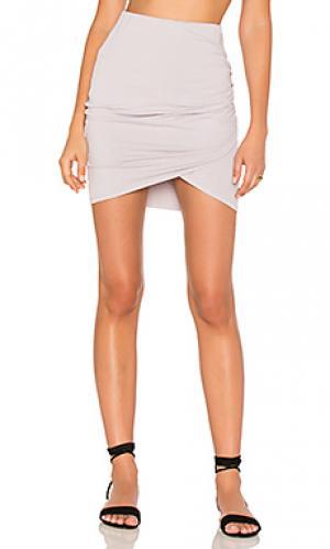 Мини юбка с переплетом спереди Michael Stars. Цвет: бледно-лиловый