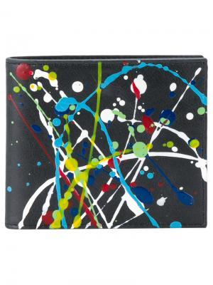 Бумажник с брызгами краски Maison Margiela. Цвет: синий
