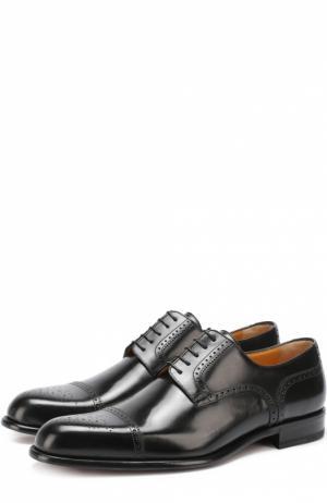 Классические кожаные дерби с брогированием A. Testoni. Цвет: черный