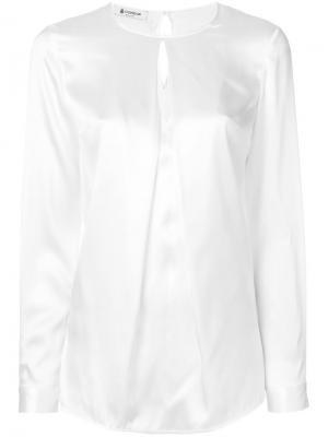Блузка с длинными рукавами и вырезом капелькой Dondup. Цвет: белый