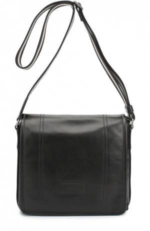 Кожаная сумка-планшет с логотипом бренда Bally. Цвет: черный