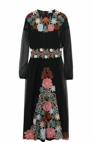 Приталенное платье-миди с длинным рукавом REDVALENTINO. Цвет: черный