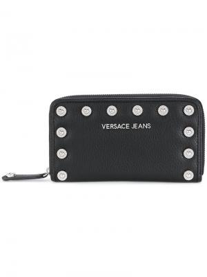 Кошелек с заклепками Versace Jeans. Цвет: чёрный