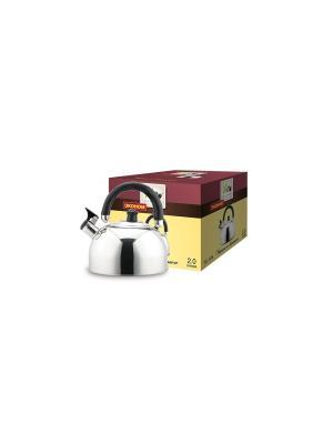Чайник TECO 120-TC , объем 2,0 л. со свистком, нержавеющая сталь, свисткок.. Цвет: серебристый