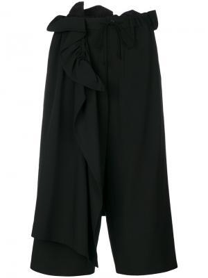 Кюлоты с драпировками Yohji Yamamoto. Цвет: чёрный