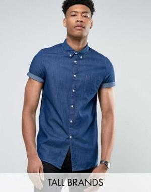 Burton Menswear Темная выбеленная джинсовая рубашка с коротким рукавом. Цвет: темно-синий