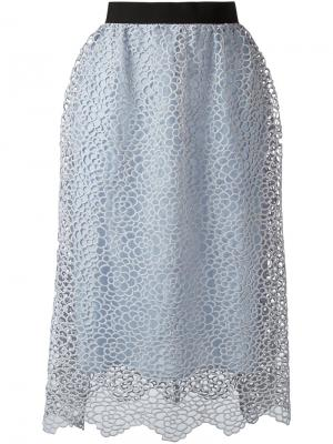 Кружевная юбка миди Self-Portrait. Цвет: синий