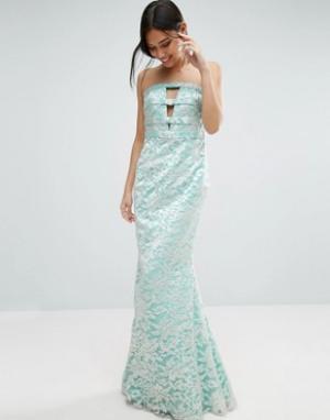 Forever Unique Кружевное длинное платье-бандо Georgia. Цвет: зеленый