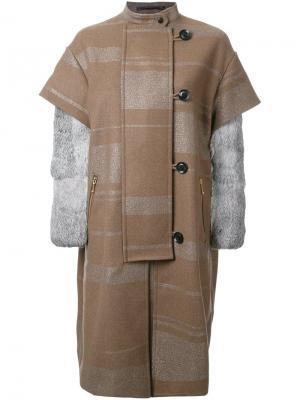 Однобортное пальто Kolor. Цвет: коричневый