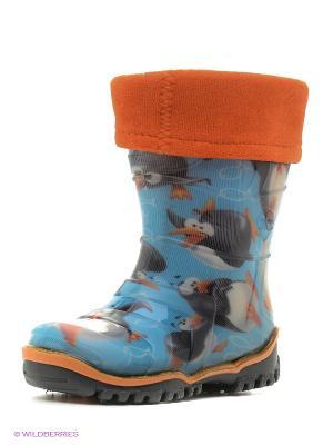 Резиновые сапоги Дюна. Цвет: голубой, оранжевый