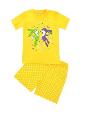 Комплект: футболка, шорты Sladikmladik. Цвет: желтый