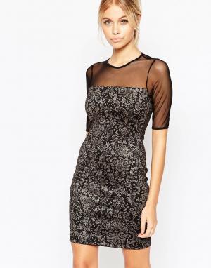 Hedonia Облегающее платье с полупрозрачными рукавами и узором флок Eli. Цвет: черный