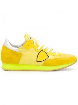 Кроссовки с логотипом Philippe Model. Цвет: жёлтый и оранжевый