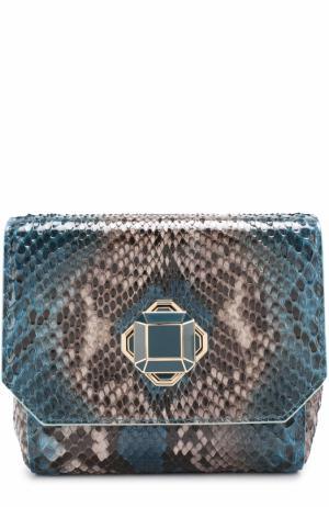 Клатч из кожи питона на цепочке Elie Saab. Цвет: голубой