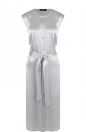 Однотонное платье-миди с широким поясом St. John. Цвет: светло-серый