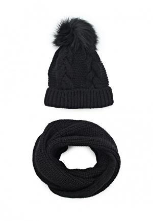 Комплект шапка и снуд Fete. Цвет: черный
