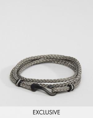 Seven London Серый браслет с крючком эксклюзивно для ASOS. Цвет: серый