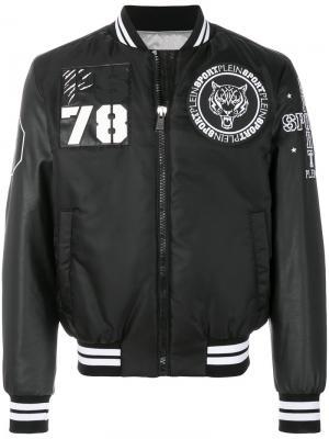 Куртка-бомбер  с вышивкой Plein Sport. Цвет: чёрный