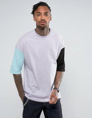 ASOS Свободная футболка из плотного трикотажа с разными рукавами. Цвет: фиолетовый