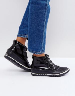 Sorel Черные непромокаемые кожаные лакированные ботинки Out N About. Цвет: черный