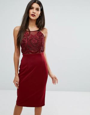 Forever Unique Облегающее платье миди с кружевным лифом. Цвет: красный