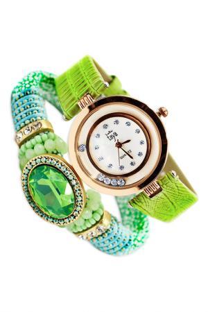 Набор: часы, браслет Taya. Цвет: золотистый, светло-зел
