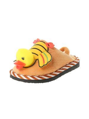 Тапочки домашние детские Migura. Цвет: желтый, черный, коричневый, оранжевый
