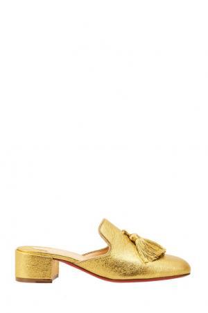 Золотистые мюли Barry Mule 35 Christian Louboutin. Цвет: золотой
